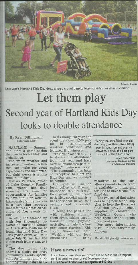 Hartland Kids Day Article July 7-17-14 Enterprise cropped
