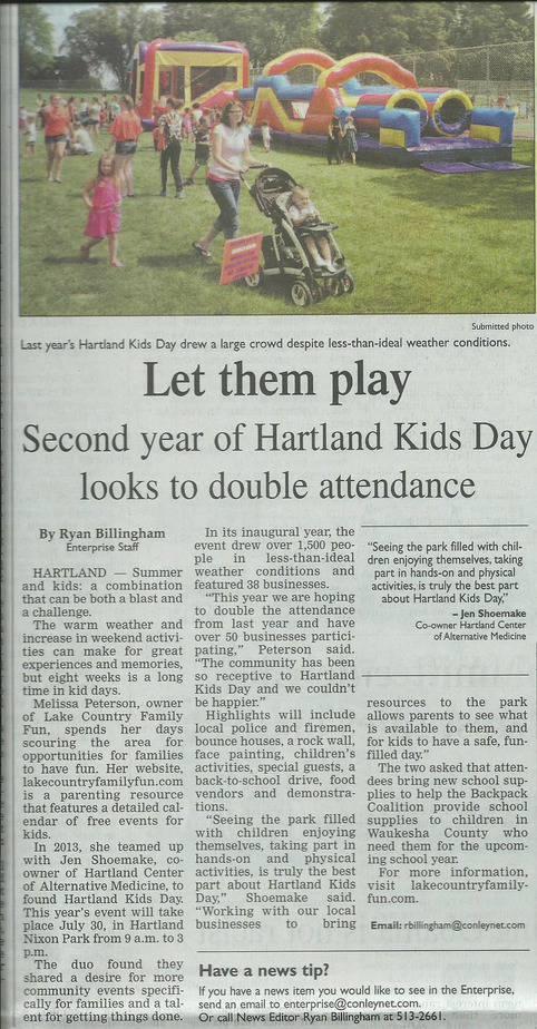 Hartland Kids Day Article July 7-17-14 Enterprise cropped