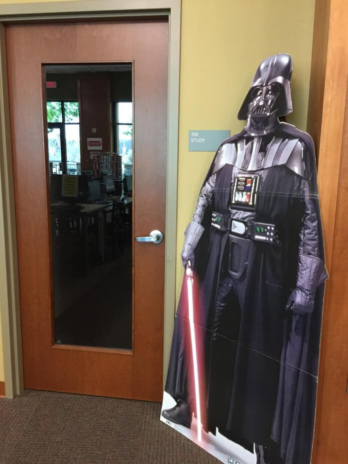 Delafield Library Study area Darth Vadar Cutout