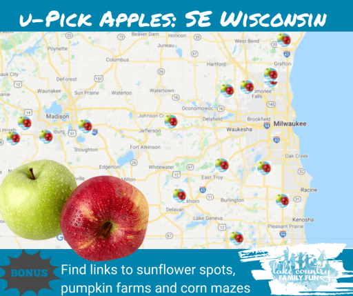 SE Wisconsin Apple Picking Guide map 2021