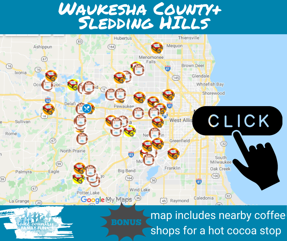 sledding Hill map waukesha COunty